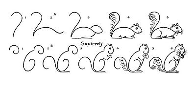 Kids Vintage Printable - Draw Some Squirrels - The Graphics Fairy tutorial