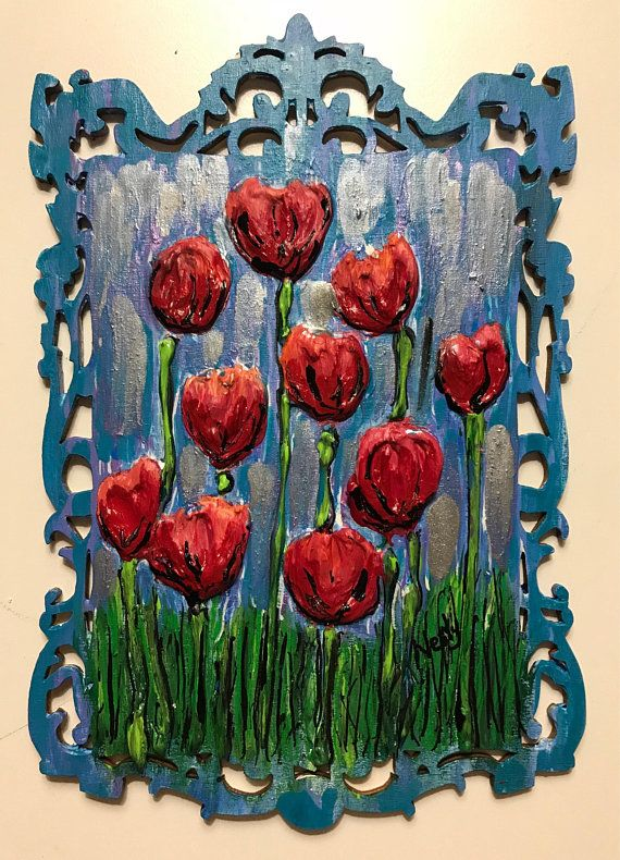 This is Flower Art painting on etched wood made with plaster. It is an impasto style acrylic painting of flowers in a field. canvas art piece of flowers in a blue sky and grass made with This is a mini version of one of my large original pieces. As seen in my Instagram page. See the links