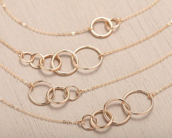 Personalized UNITY LINK Necklace 14k Gold Fill or Sterling Silver / Multiple Link Options - Infinity, New Mom, Family Layered And Long LN337