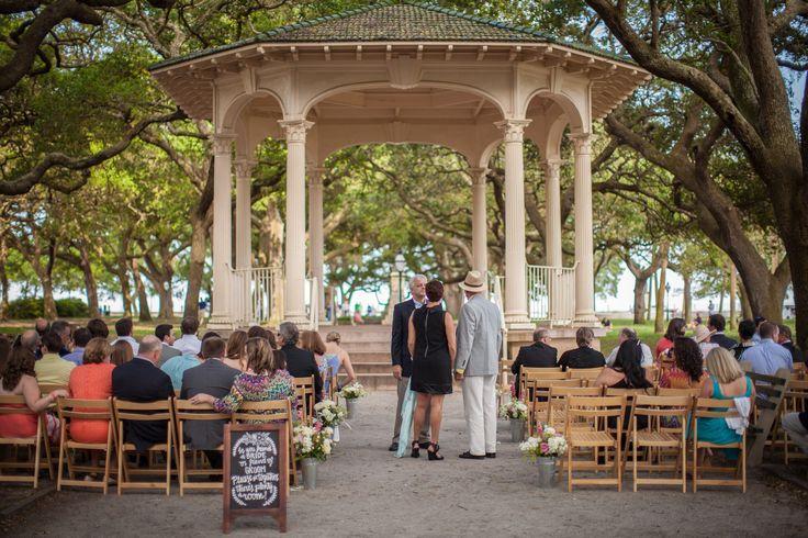 Charleston Outdoor Wedding Ceremony Location Gazebo White Point Gardens