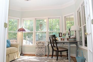 Sunroom with queen anne desk