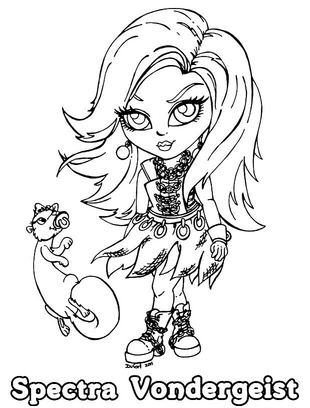 monster high spectra baby chibi cute coloring page - Monster High Chibi Coloring Pages