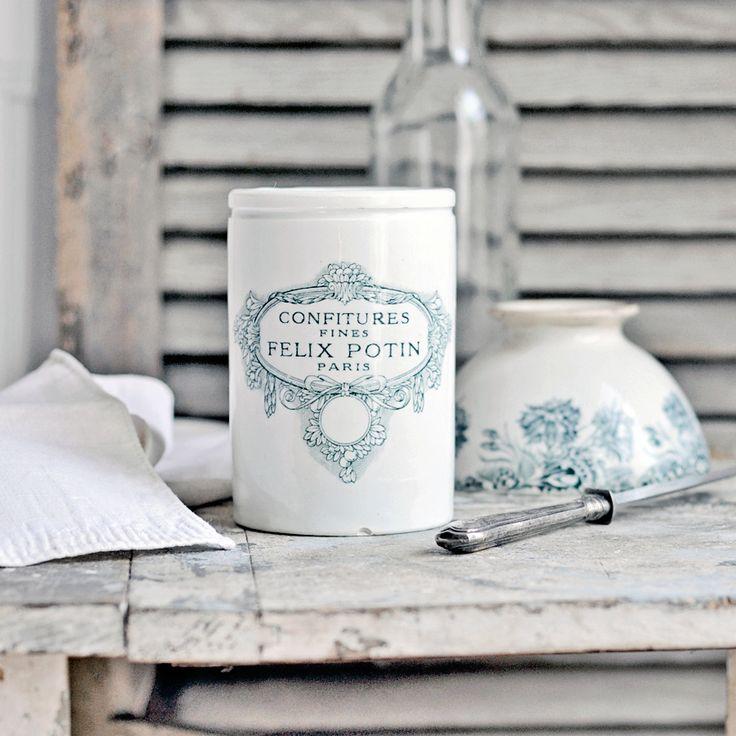 An antique French white ironstone jam pot - Felix Potin