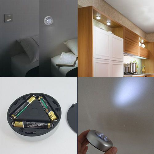 With 3 LED Light Stick On Tap Touch Light Lamp Battery Powered Cabinet Closet