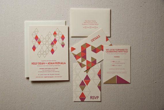 Wedding Invitation Sample Mid Century Modern by SWEETletterpress