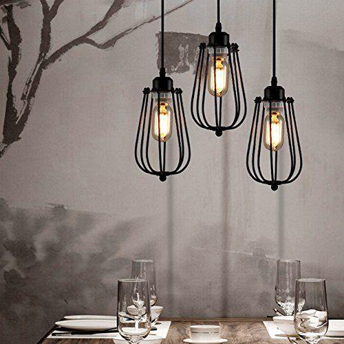 Plafonnier Industriel Lustre E27 Suspension Vintage Edison Minimaliste Lampe suspendu Rétro Antique Vintage Edison, Vintage, Abat-jour de Cage à la maison Chandelier Shade Durable