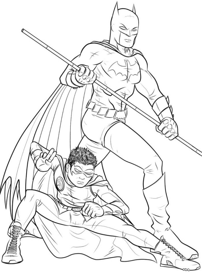 Batman And Robin Coloring Pages For Free Kids Coloring
