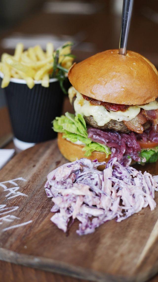 Chilli jam cheeseburger with bacon & slaw on a brioche bun