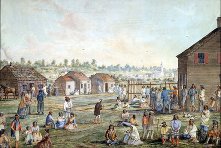 Metis settlement, Manitoba [Canada] circa 1870 by William Wallace Armstrong. Armstrong had been part of the Red River Expedition of 1869-70 during the 1st Riel rebellion aka 1st Northwest Rebellion.