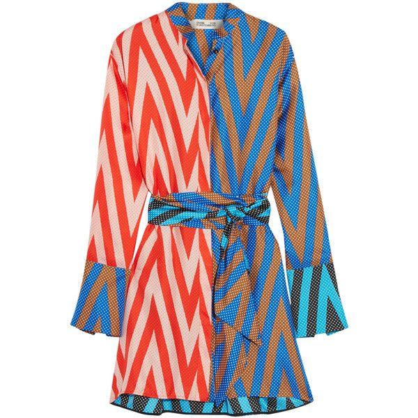 Diane von Furstenberg Printed silk-twill mini dress ($445) ❤ liked on Polyvore featuring dresses, blue, colorful dresses, diane von furstenberg dress, long-sleeve mini dress, long dresses and short long dresses