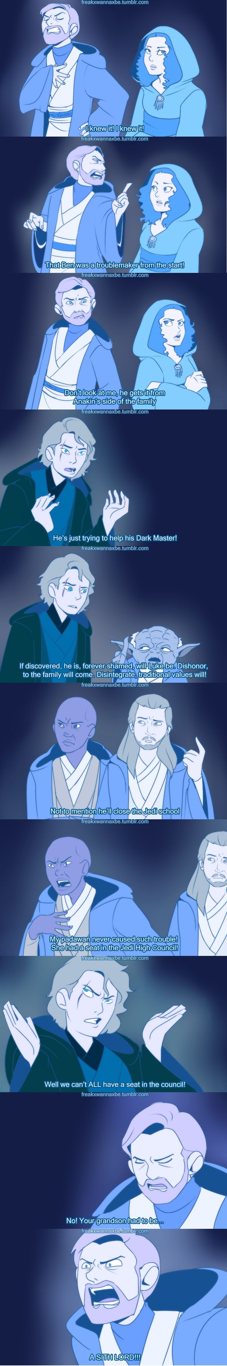 Star Wars ..HAHAHA (except for the part that padme is a force ghost...she wasn't a jedi)