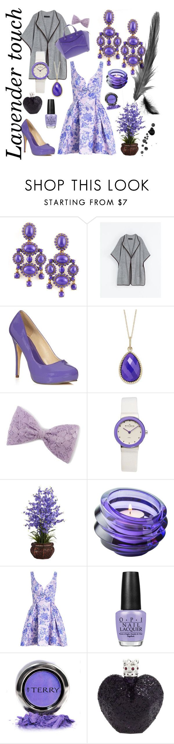 """""""Lavender Touch"""" by stylebycharlene on Polyvore featuring Oscar de la Renta, Zara, Kate Spade, JustFabulous, Skagen, Nearly Natural, Orrefors, OPI, By Terry and Vera Wang"""