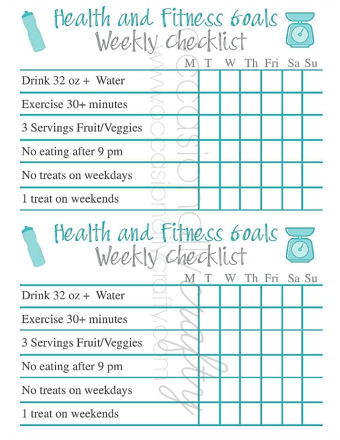Free Printable: Health and Fitness Goal Checklist | Barre ...