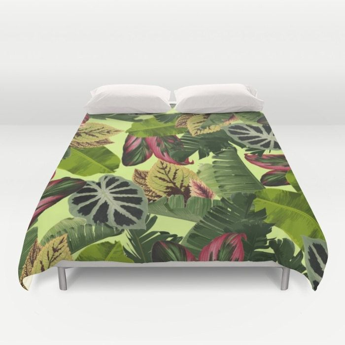 Tropical Duvet Cover, Full Queen King, Tropical Leaf Pattern, Pink Green Bed Cover, Banana Leaf Bedding, Green Comforter Cover, Botanical by OlaHolaHolaBaby on Etsy