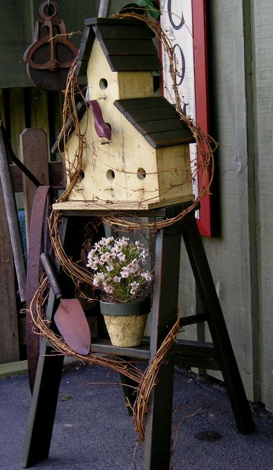 spring and summer, A few picks of things I made this spring! Take a peek!, Cute birdhouse on step ladder , Holiday Project