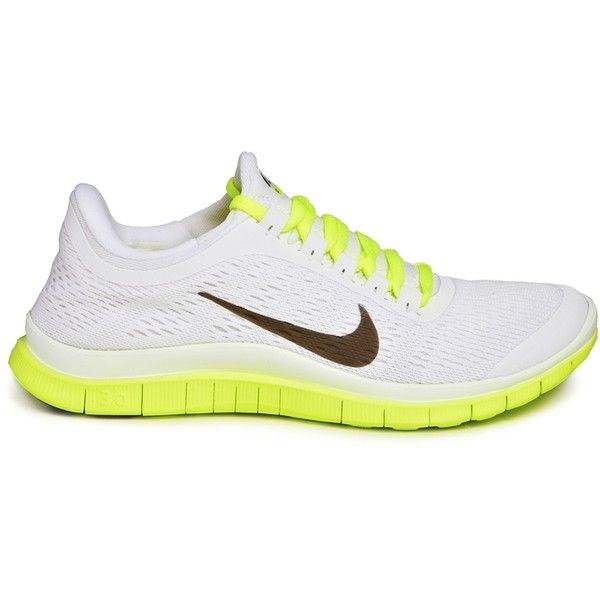 Nike Free 3.0 V5 White/Green Trainers ($97) ❤ liked on Polyvore featuring shoes, sneakers, nike footwear, cushioned shoes, white sneakers, lightweight breathable sneakers and nike