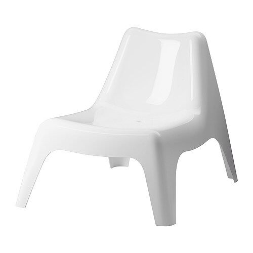 White plastic IKEA garden chair