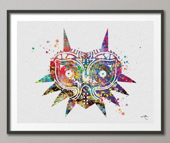 Zelda Wall Decoration : Majora s mask inspired legend of zelda watercolor