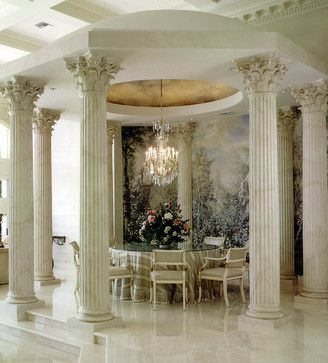 Other Metro Mediterranean Home French Dining Rooms Design