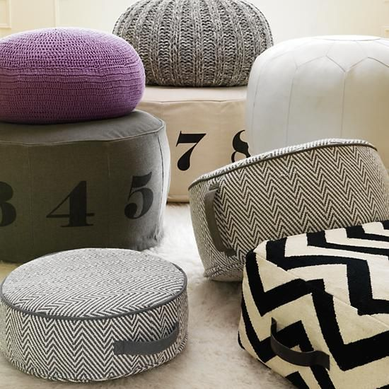 Numbers Pouf (Natural) in Poufs & Floor Cushions | The Land of Nod