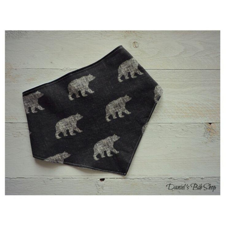Handmade black and white bears bibdana!