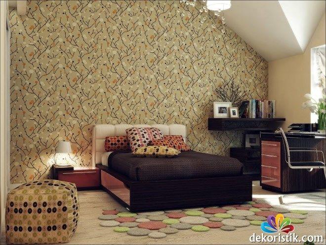 Kahverengi Yatak Odası Duvar Kağıdı
