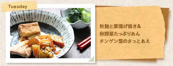 [Tuesday]秋鮭と厚揚げ焼き& 秋野菜たっぷりあん チンゲン菜のさっとあえ