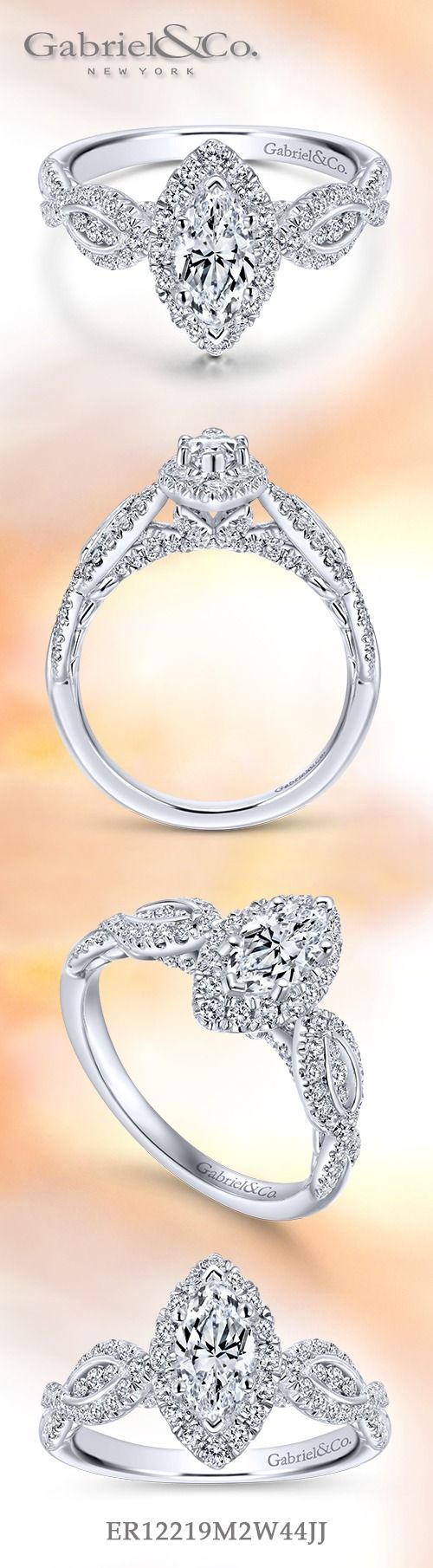 Gabriel & Co.-Voted #1 Most Preferred Fine Jewelry and Bridal Brand.  14k White Gold Marquise Halo  Engagement Ring.