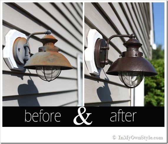 198 best lighting i love images on pinterest chandeliers antler transform outdoor light fixtures with a hammered paint finish i have used hammered bronze spray paint from rustoleum before with great results workwithnaturefo