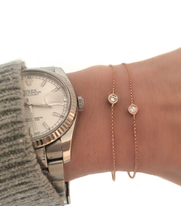 Diamond solitaire bezel bracelet Minimalist jewelry