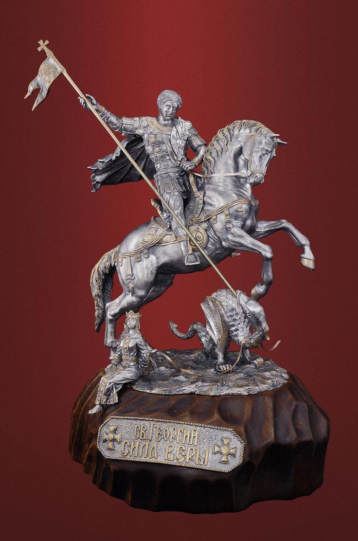 Петербургская традиция оловянного литья: Св. Георгий Победоносец «Сила веры». Чернёное олово