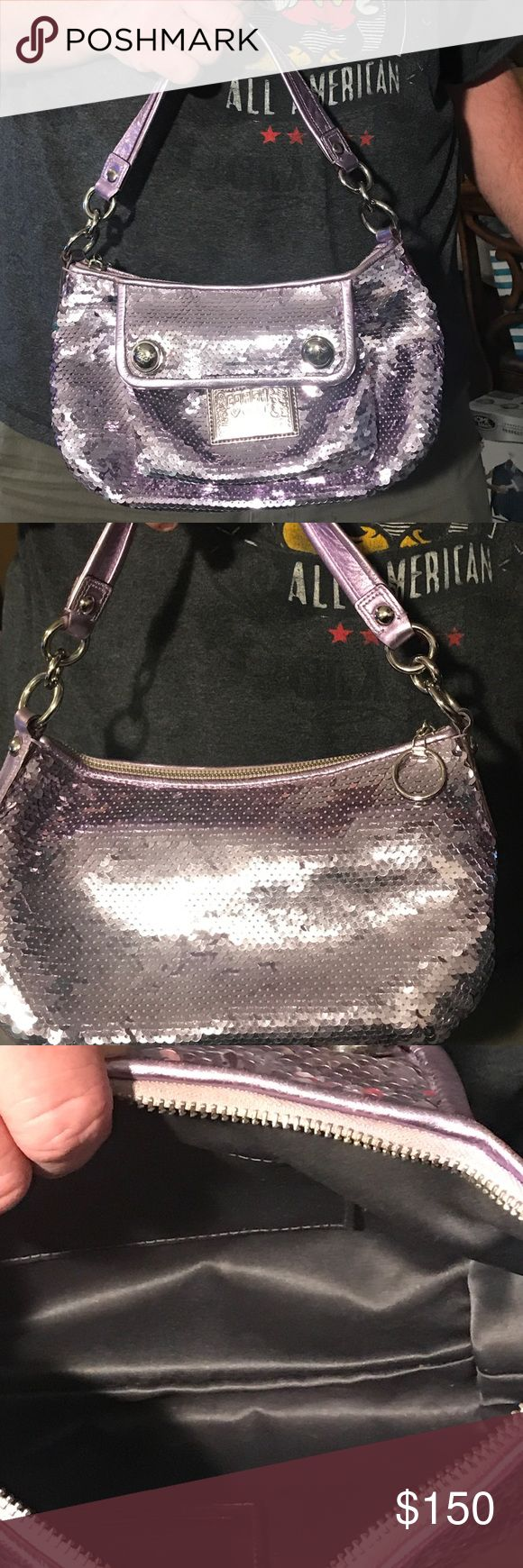 Lilac coach poppy groovy sequin bag This is a lilac coach sequin lilac groovy bag in great condition Coach Bags Satchels