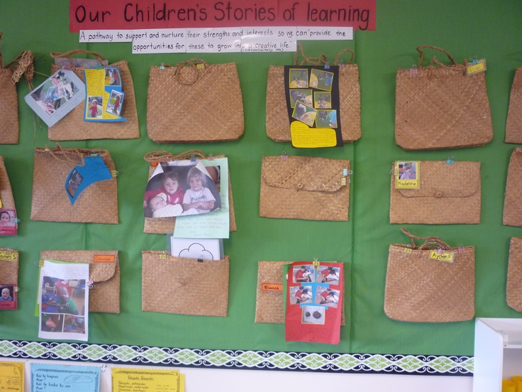 A beautiful display with kete and stories for each child at the centre @ Paterson Street Playcentre.