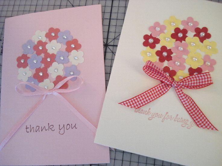 32.お花のクラフトパンチで花束のバースデーカード   簡単手作りカード                                             Chocolate Card Factory