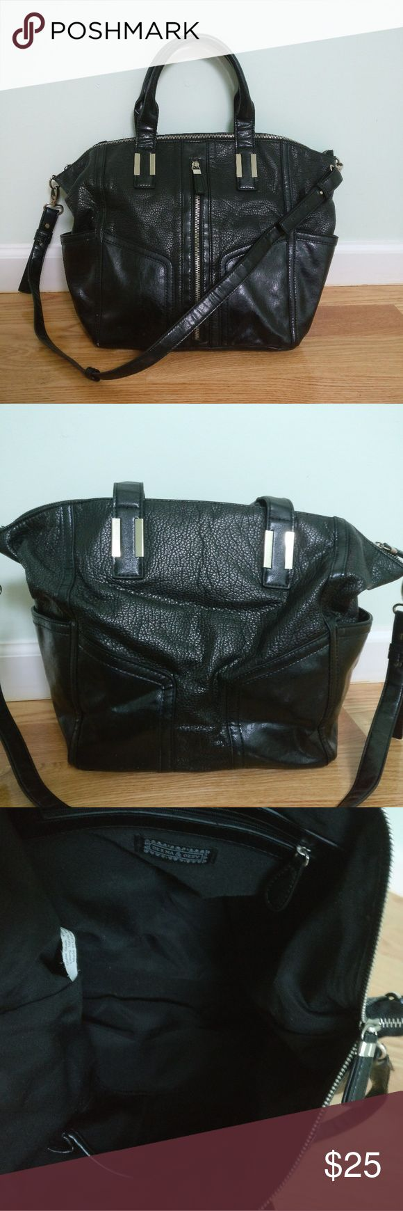 """Deena & Ozzy Vegan Leather Moto Zip Satchel In excellent condition, gently used. Removable/adjustable strap, slit pockets on the side with interior cell phone and zip compartments.  Measurements:  Length: 11"""" Width: 6"""" Height: 13"""" Deena & Ozzy Bags Satchels"""