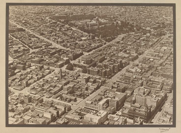 I spy: an Airspy aerial view showing the State Library and the Exhibition Building, ca. 1927-ca. 1928.