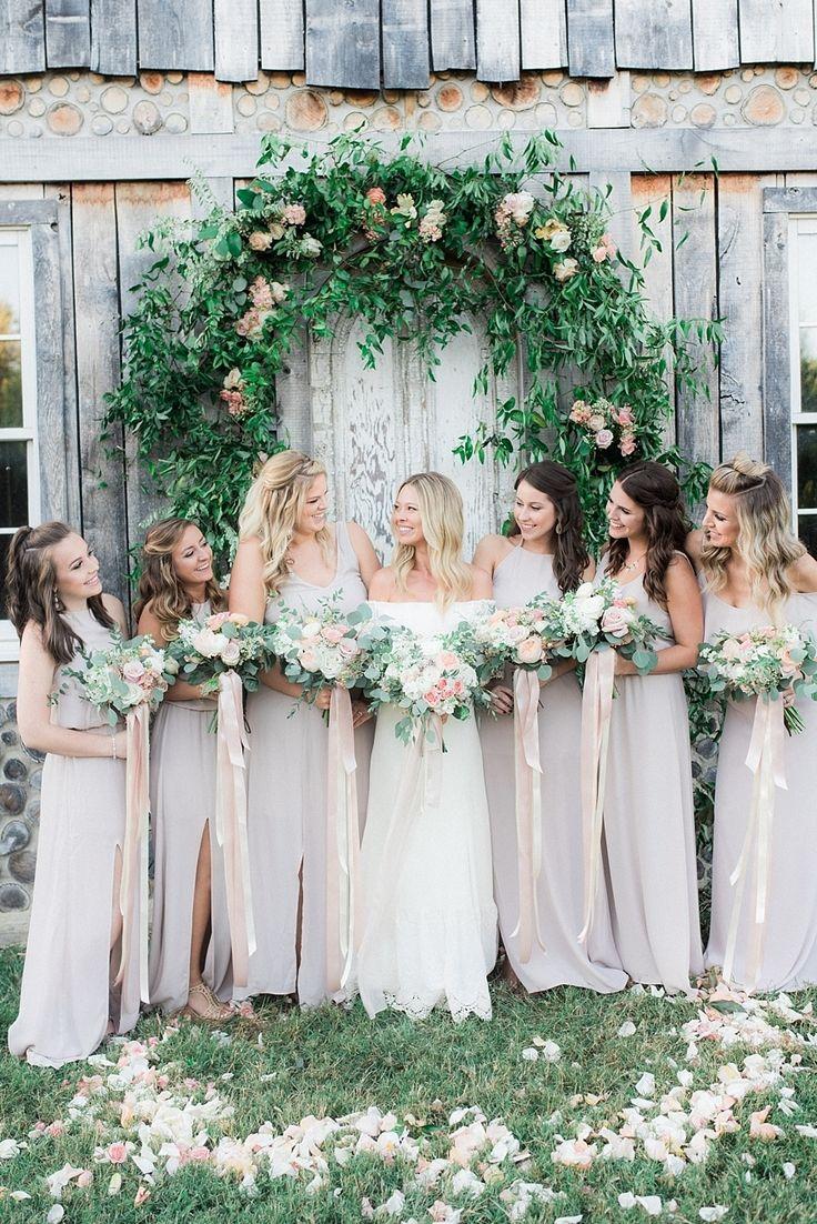 Boho chic bridesmaids: Wedding Dress: Daughters Of Simone - http://www.stylemepretty.com/portfolio/daughters-of-simone Groom's Attire: Express - http://www.stylemepretty.com/portfolio/express Floral Design: Cedarwood - http://www.stylemepretty.com/portfolio/cedarwood   Read More on SMP: http://www.stylemepretty.com/2017/03/01/romantic-boho-nashville-wedding/