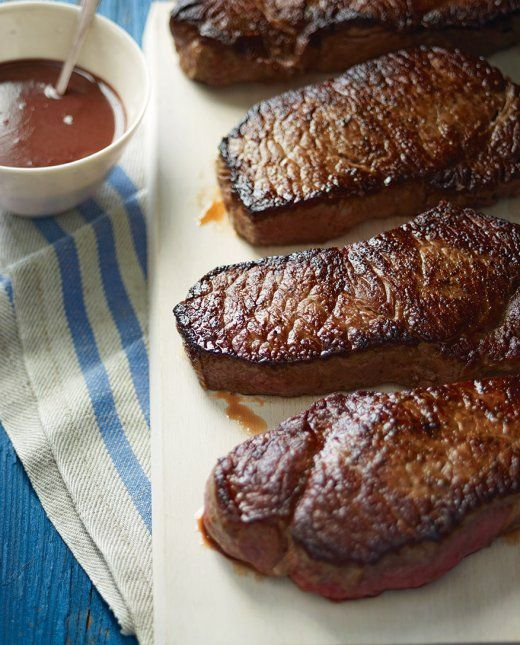 Dinner tonight? :) New York Strip Steaks with Red-Wine Sauce - #myhttender #giveaway #biggreenegg