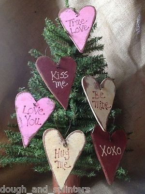 Set of 6 Primitive Wood Valentine Conversation Heart Ornaments
