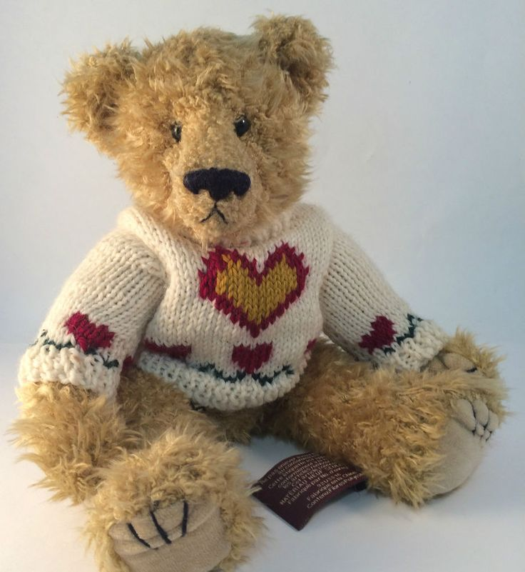 """HEARTLY Sweater TY Bear 1993 Attic Treasure 12"""" Jointed  #TY"""