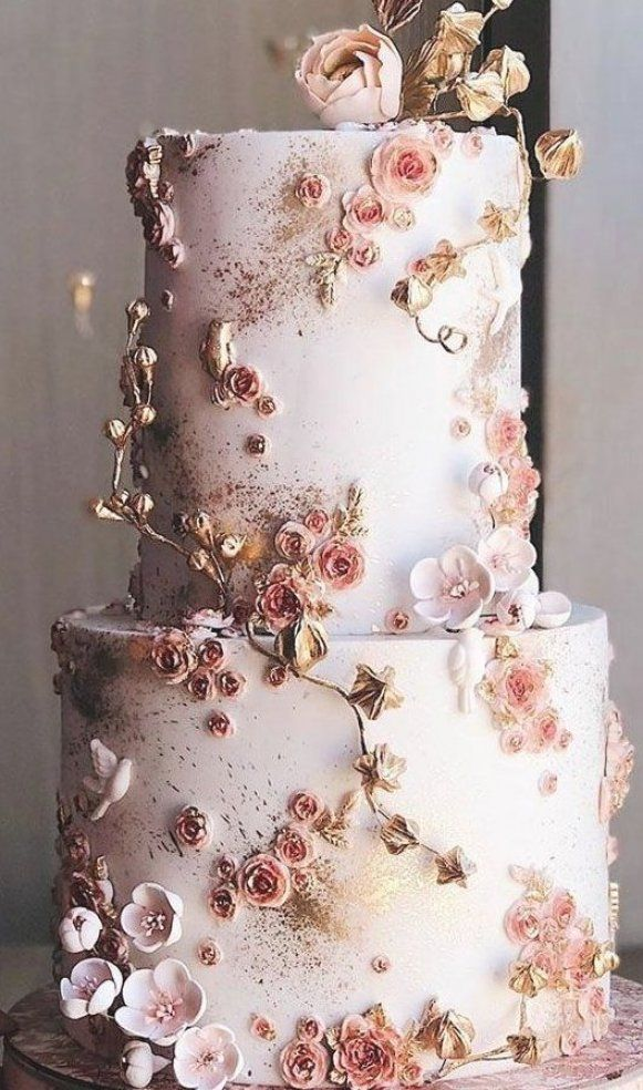 22 The Most Beautiful Wedding Cakes With Floral Wedding Cake Ideas Weddingcake In 2020 Affordable Wedding Decorations Wedding Cakes With Flowers Inexpensive Wedding