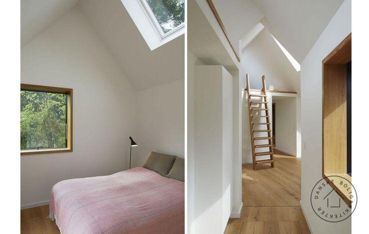 Lys fra flere sider. Det ser tilfældigt ud, men placeringen af vinduerne i dette sommerhus er nøje gennemtænkt, så de enten indrammer en spændende udsigt eller skaber et særligt lysindfald. Huset er tegnet af arkitekt Charles Bessard.