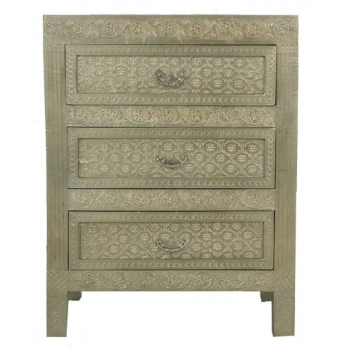 White Metal Embossed 3 Drawer Bedside Chest   A Stunning Addition To Any  Home, This