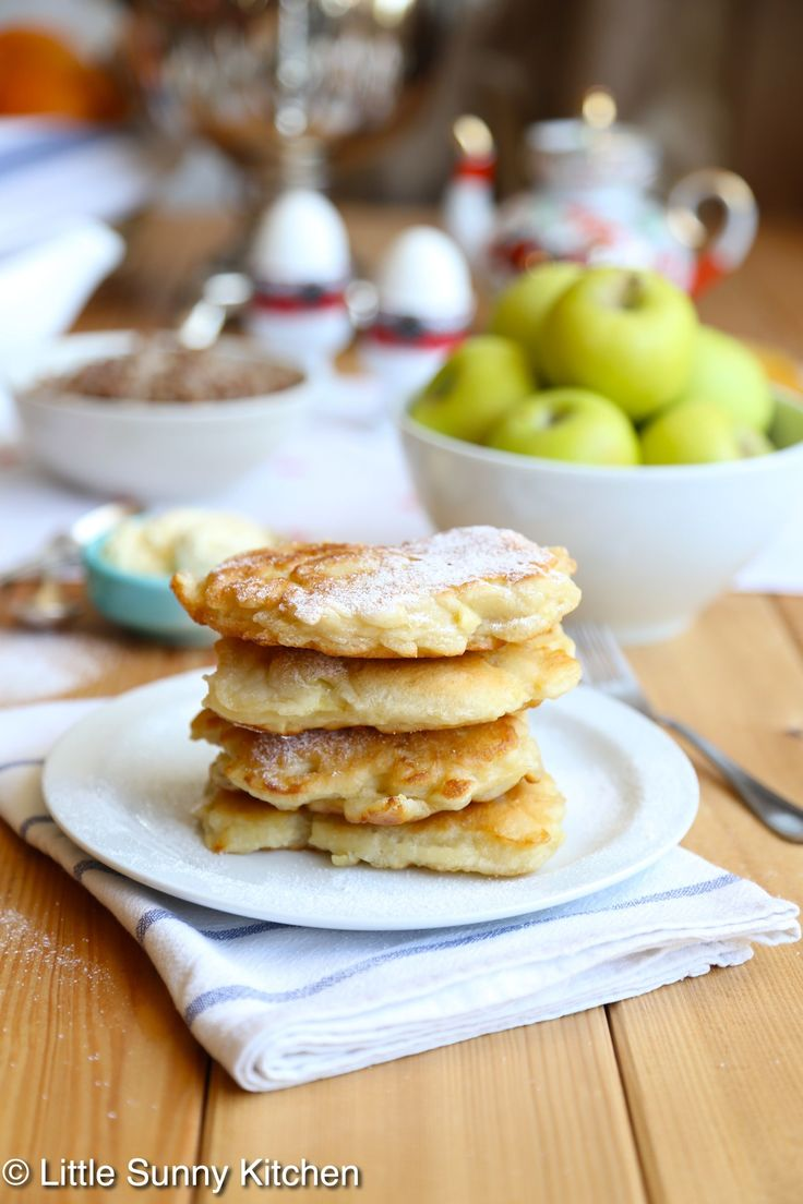 Apple pancakes dipped into standard pancake batter, then fried in butter and topped with powdered sugar or any sweet syrup that you like! This is what sort of food I like to eat for breakfast on weekends! In my family we usually have big breakfasts when it's the weekend, and it's always either a Russian...Read More »