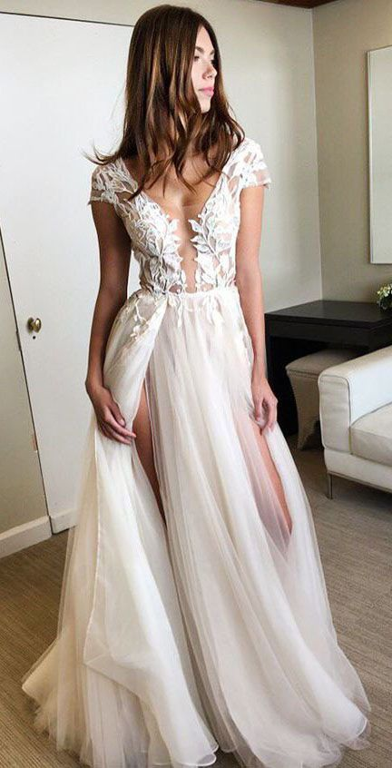 Wedding Dresses,Beach Wedding Dress,Cap Sleeve Prom Dresses,Long Party Dress,Deep V-neck Prom Gown With Appliques,Charming Evening Gowns,Sexy Split Formal Dress,2017 Prom Dresses,Tulle Prom Gown