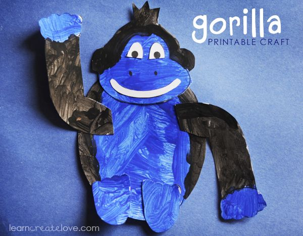 { Printable Gorilla Craft } links to printable lion and other animals too