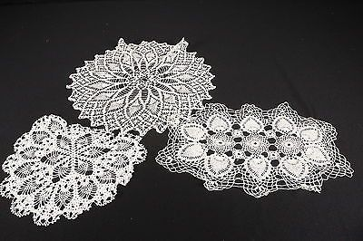 3 Hand Crocheted Doilies Vintage Linens Off-White Pineapple Repeated Designs