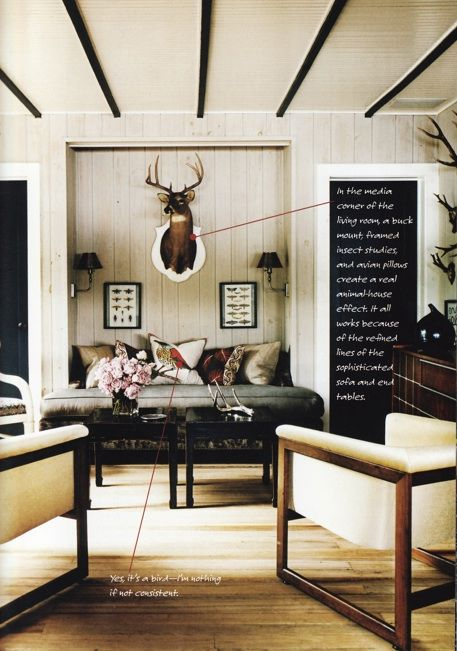 Thom Filicia.  Livingroom of his own lake cottage.  Hands down, one of my most favorite rooms ever!