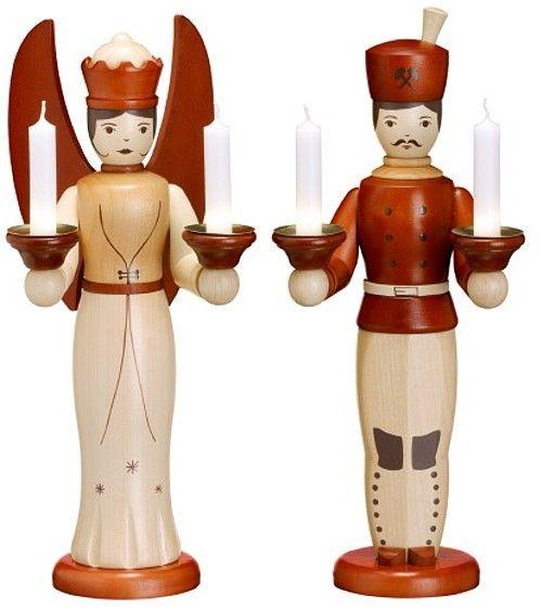 Zeidler Engel und Bergmann für Kerzen Natur