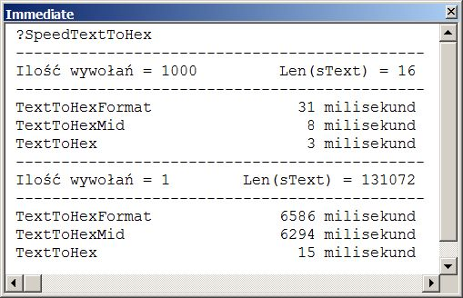 17 • Konwersja tekstu na zapis heksadecymalny.  Pobieramy kolejne znaki tekstu, odczytujemy jego kod ANSI i konwertujemy na postać heksadecymalną. Dla liczb mniejszych od 16 zapis musi być dwuznakowy (&H00=00 do &H0F=0F), by można było dokonać konwersji z zapisu heksadecymalnego na zapis dziesiętny. Posłużymy się funkcjami: #Asc(ciąg), #Hex(liczba), #StrConv(ciąg, conversion), Mid(ciąg, start[, długośc]), Right(ciąg, długośc) oraz instrukcją #Mid(tekst, początek[, długość]) = ciąg. Funkcja…